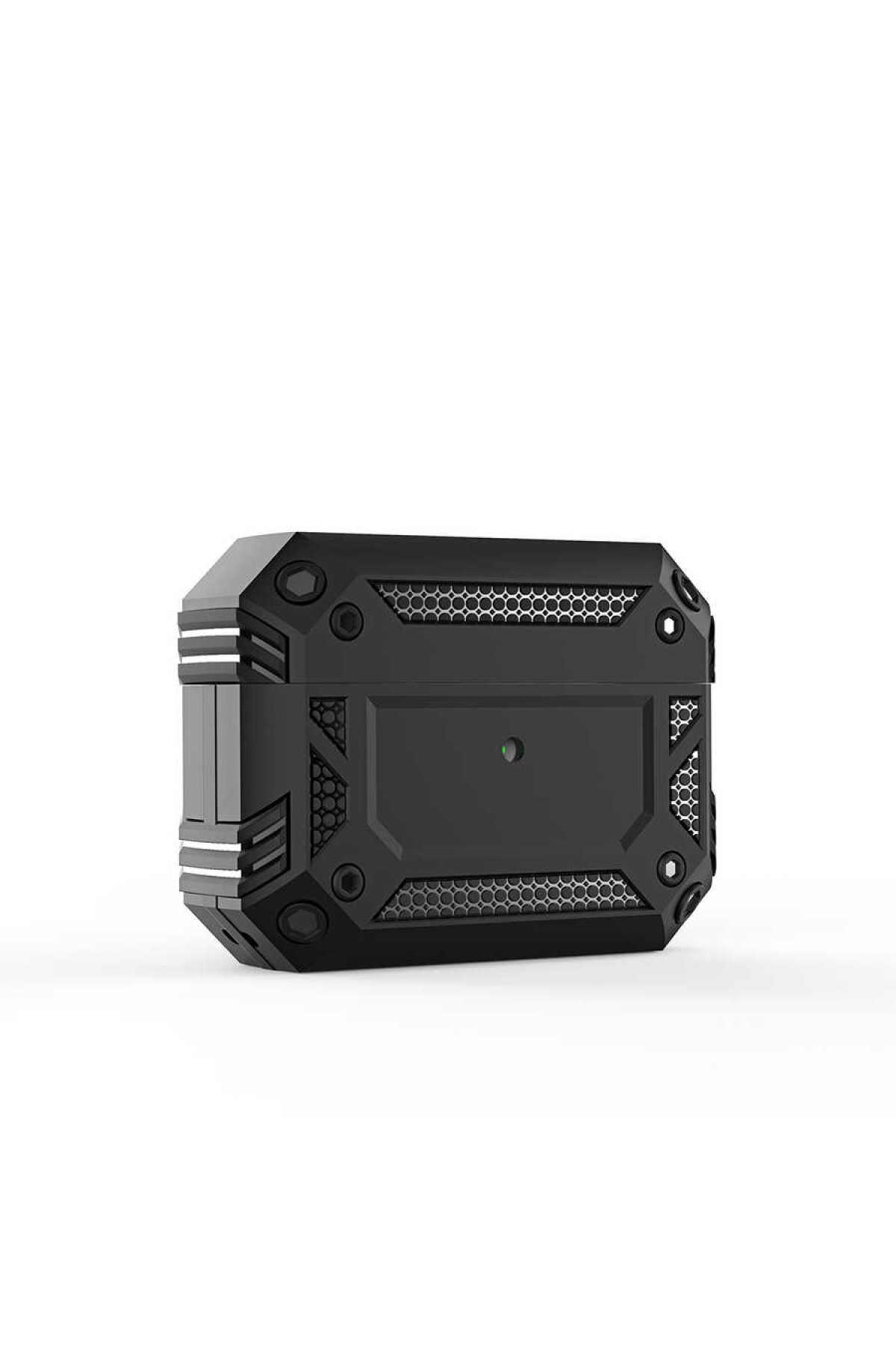 zore Airpods Pro Uyumlu Kılıf Airbag 15 Zırh Koruma Askılı Şarj Kutusu Koruyucu Siyah 1