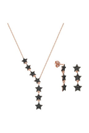Chavin Kadın Pembe Kayan Yıldızlar Gümüş Kolye Küpe Seti Ef09rs