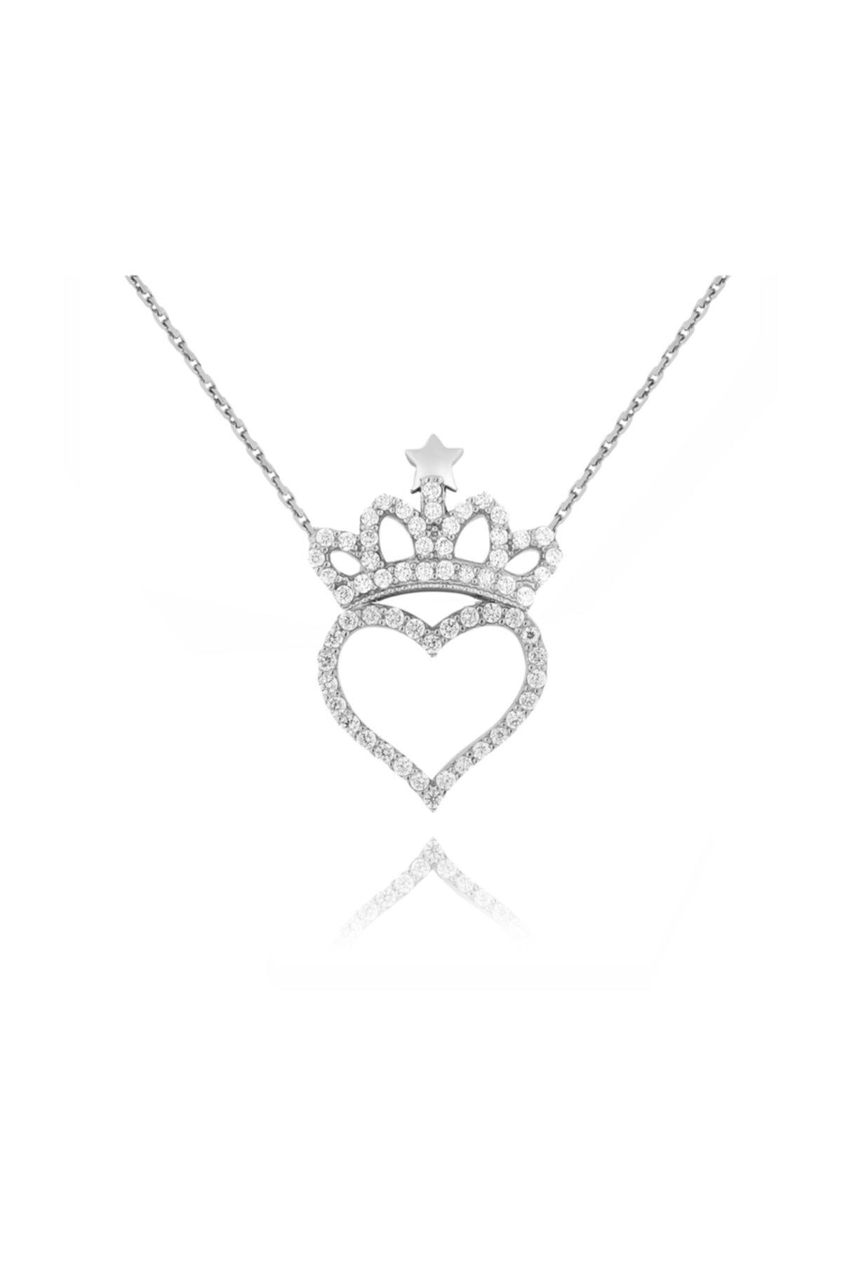 Chavin Kadın Beyaz Kalp ve Kraliçe Tacı Taşlı Gümüş Kolye Cu81 1