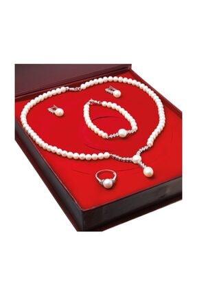 Chavin Kadın Beyaz İnci Gümüş Kolye Küpe Bileklik Yüzük Takım Set Ds39