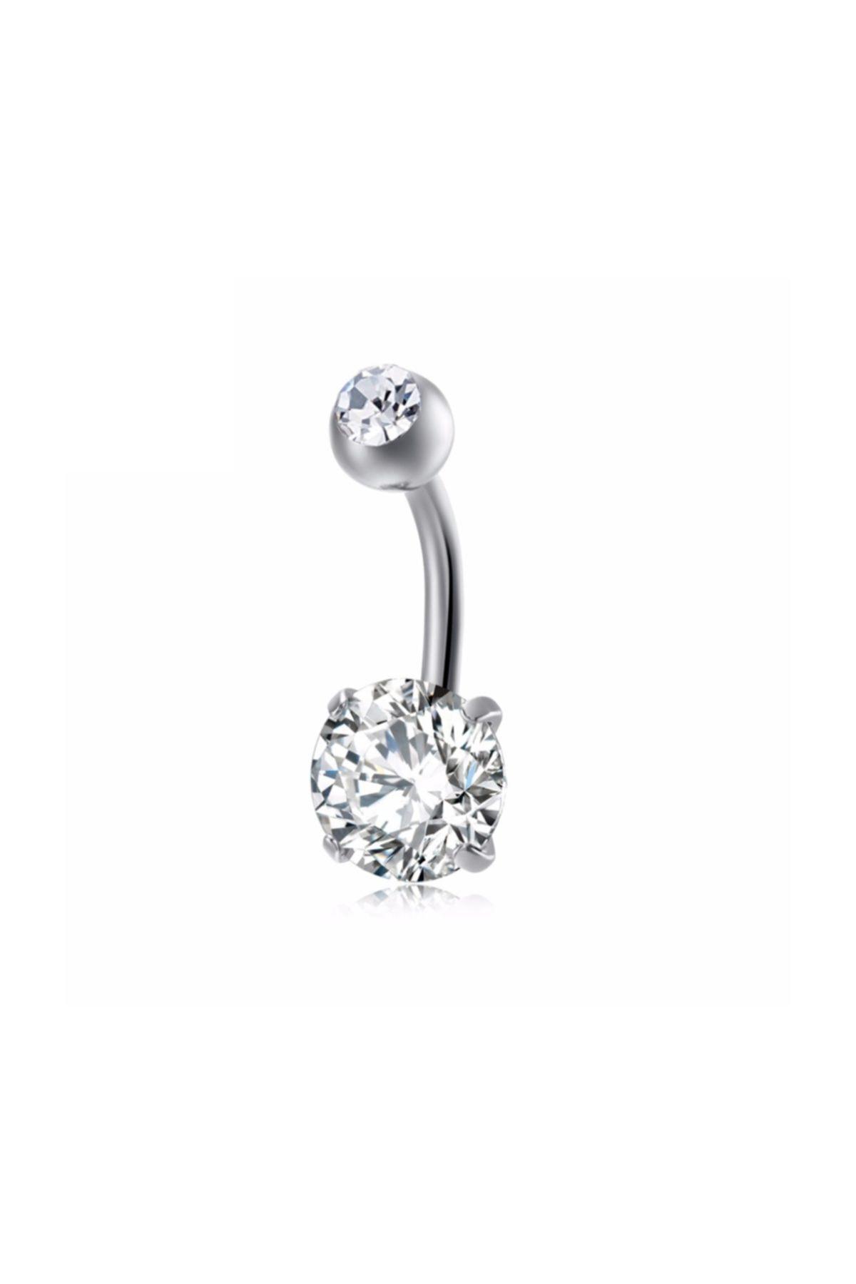 Chavin Kadın Gri Beyaz Taşlı Çelik Göbek Piercing Dt91by 1