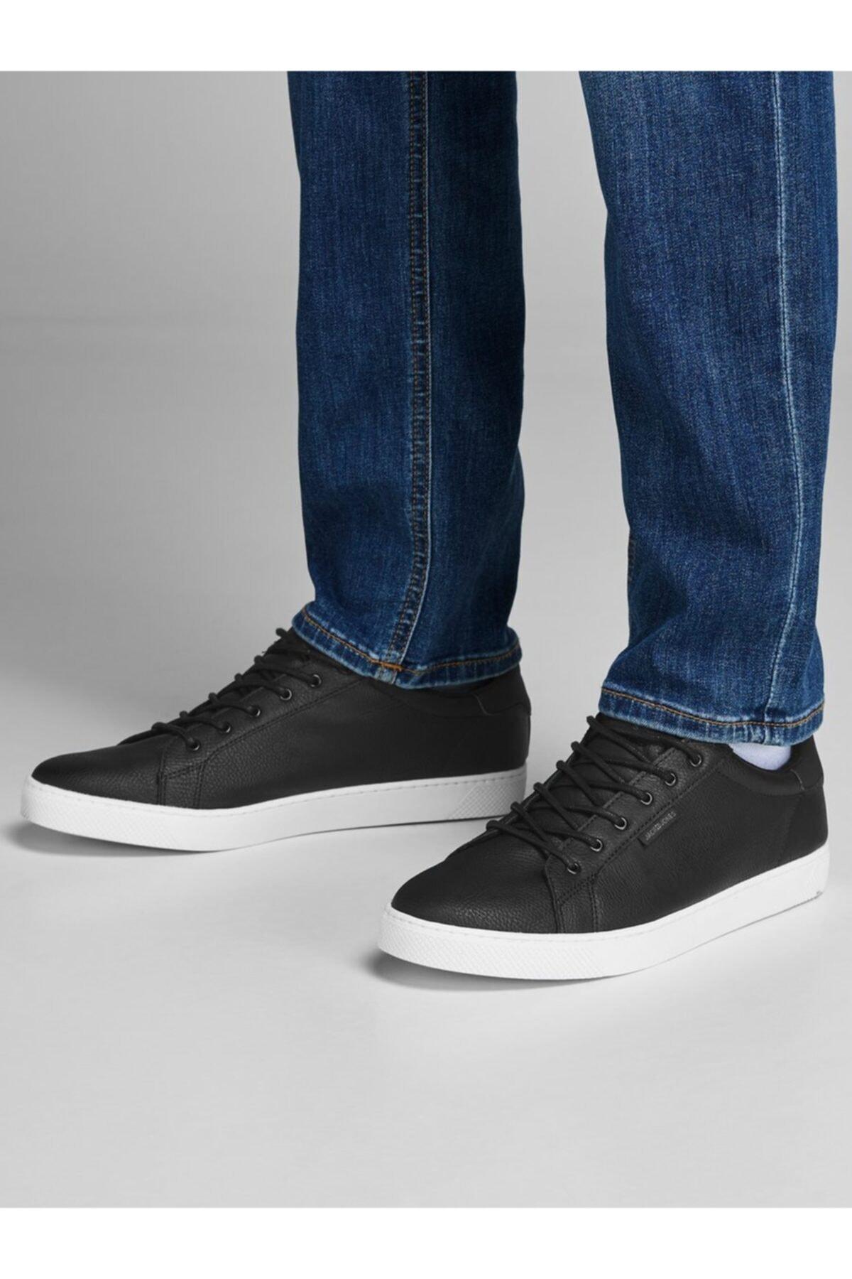 Jack & Jones Erkek Siyah Siyah Günlük Deri Ayakkabı 12150724 1