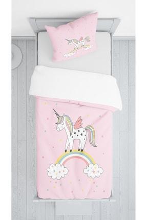 Lolla Pembe Zemin Unicorn Kadife Dekoratif Örtü 57