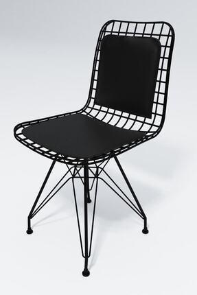 Kenzlife Sırt Minderli Ofis Cafe Bahçe Mutfak Kafes Tel Sandalye 4lü