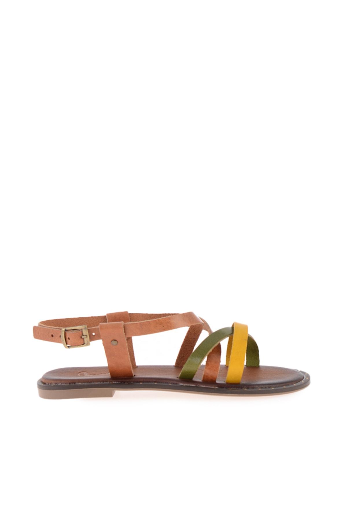 Bambi Sarı/yeşil/taba Kadın Sandalet L0685081303 2