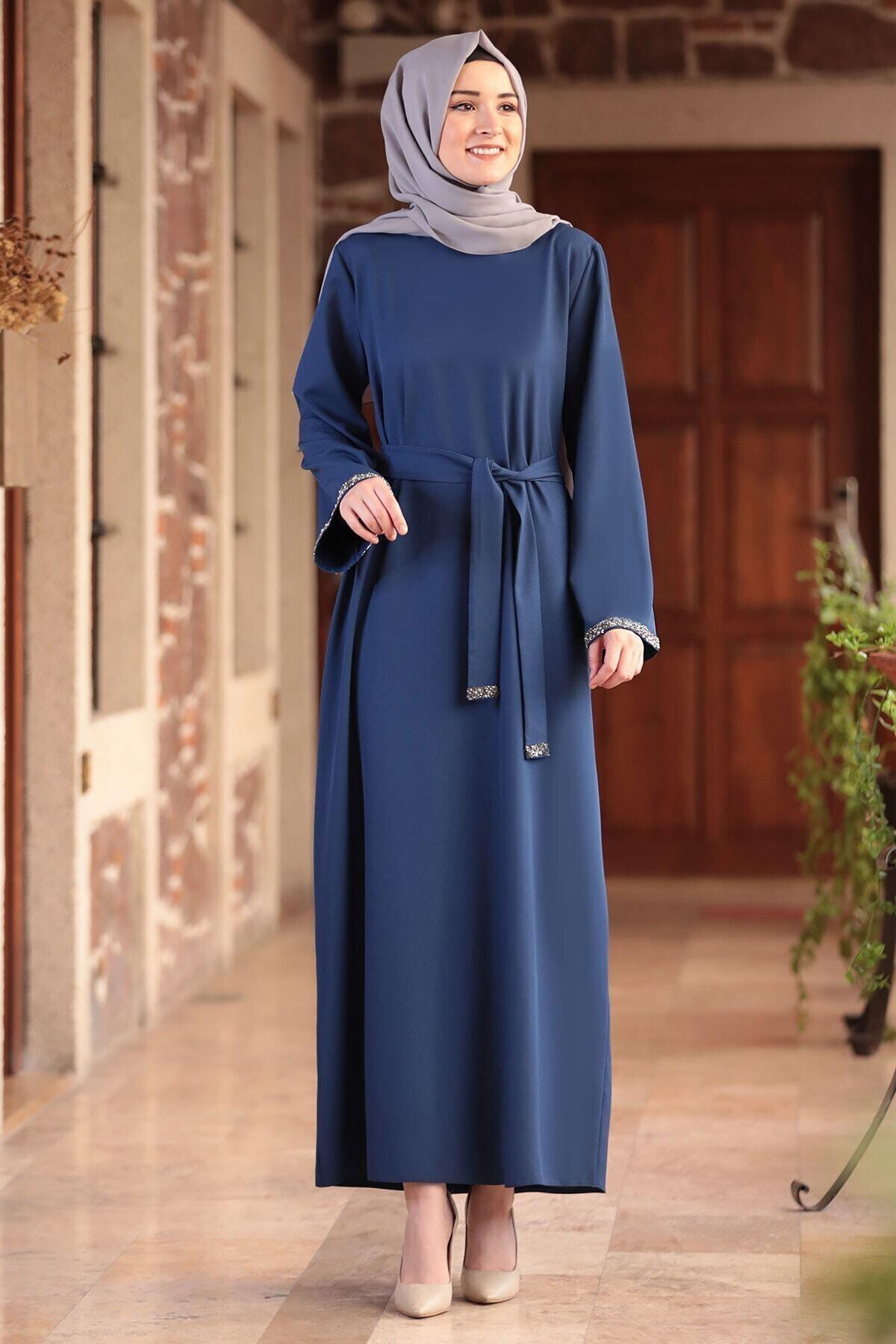 Amine Hüma Kadın Indigo Aksa Tesettür Elbise 1