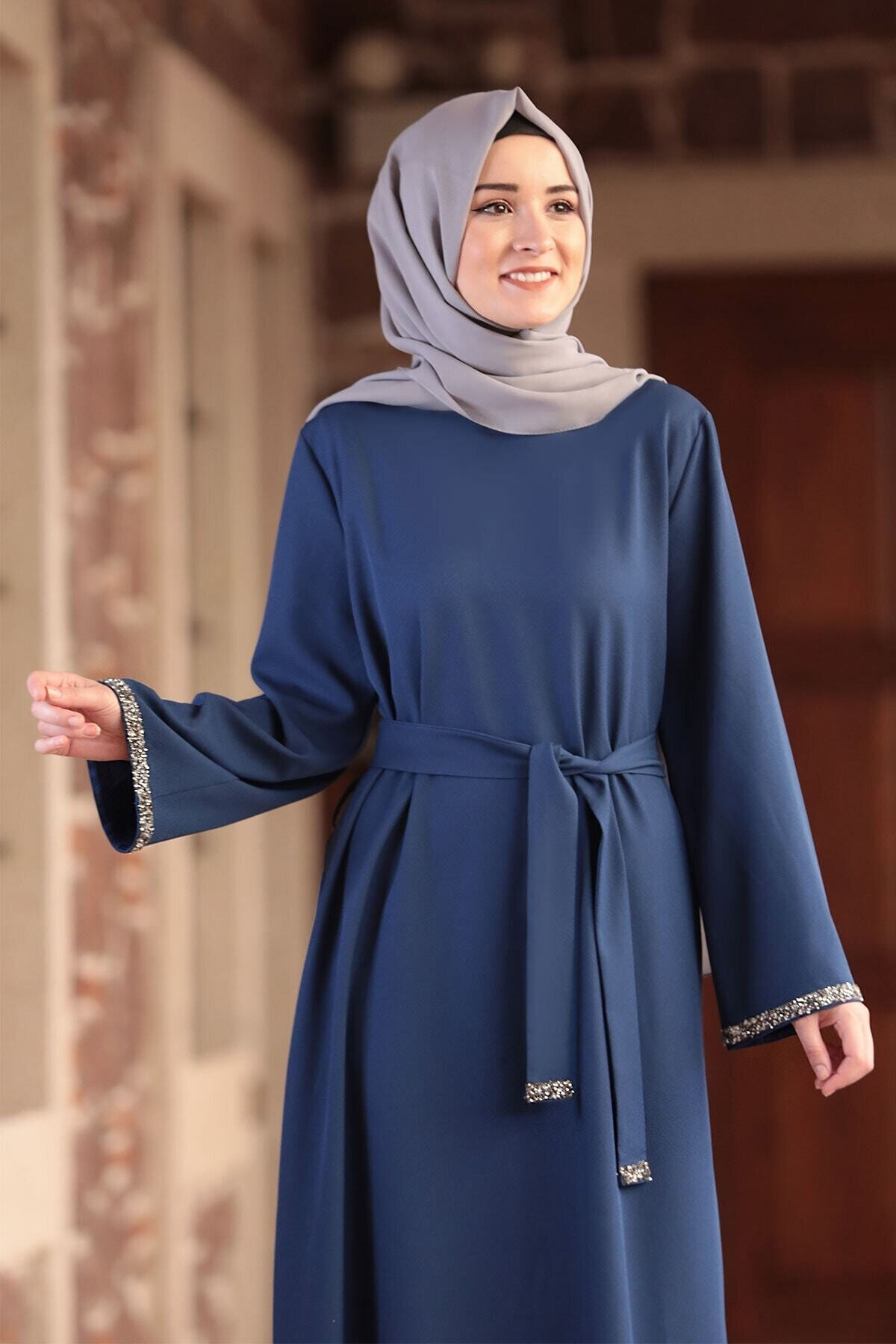 Amine Hüma Kadın Indigo Aksa Tesettür Elbise 2