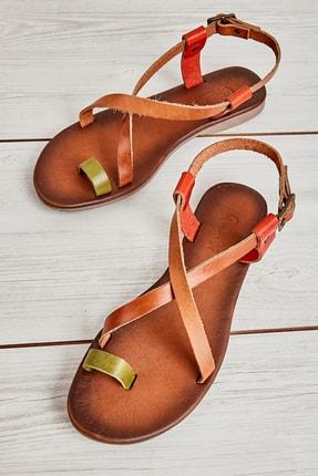 Bambi Yeşil/taba/turuncu Kadın Sandalet L0685162103