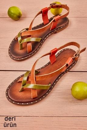 Bambi Yeşil/taba/turuncu Kadın Sandalet L0685080703