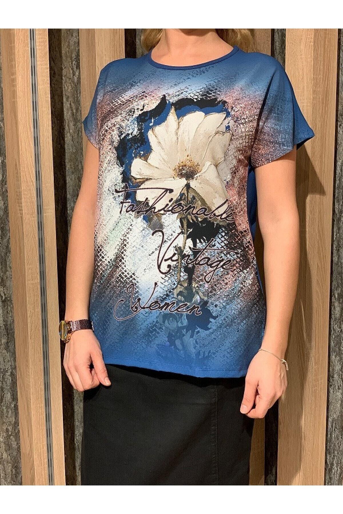 Elele Kadın Mavi Çiçekli Bluz 1
