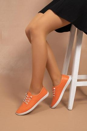 FİONA AYAKKABI Kadın Turuncu Lastik Bağcıklı Saraçlı Genç Comfort Yumuşak Tpu Taban Ayakkabı