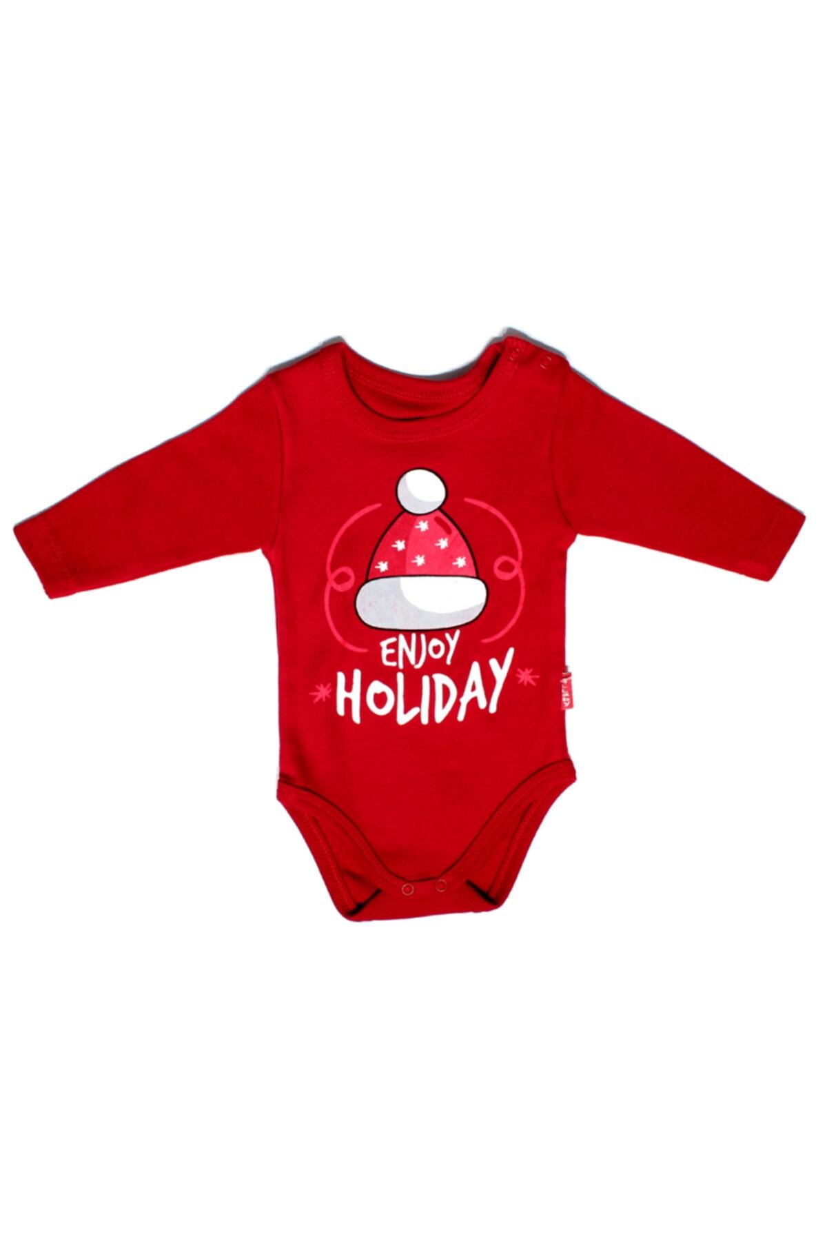 Lullaby Enjoy Holiday & Merry Christmas Uzun Kollu Body - Kırmızı 1