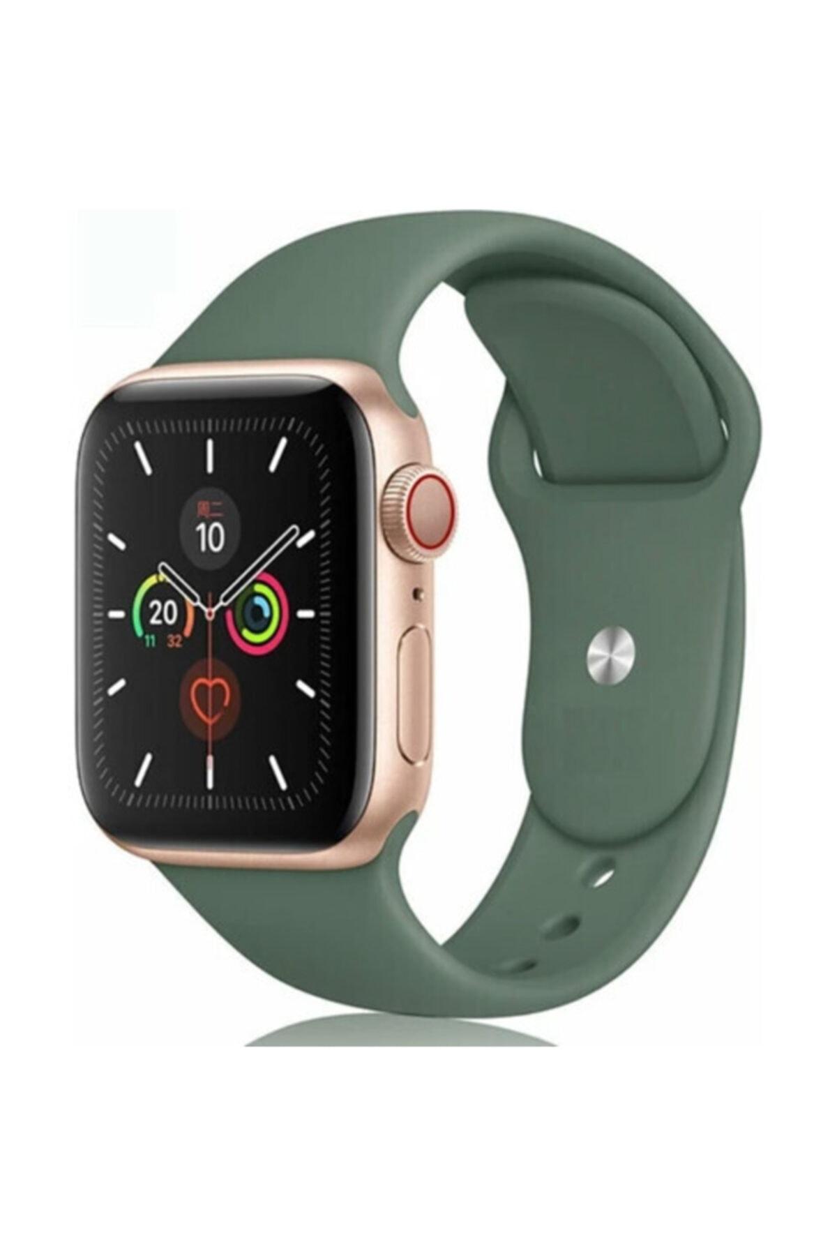 Bilişim Aksesuar Apple Watch 38 - 40 Mm Spor Kordon Silikon Kayış Koyu Yeşil 1