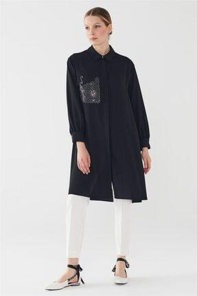 Zühre Pul Payetli File & Işleme Detaylı Düğmeli Tunik Siyah T-0736