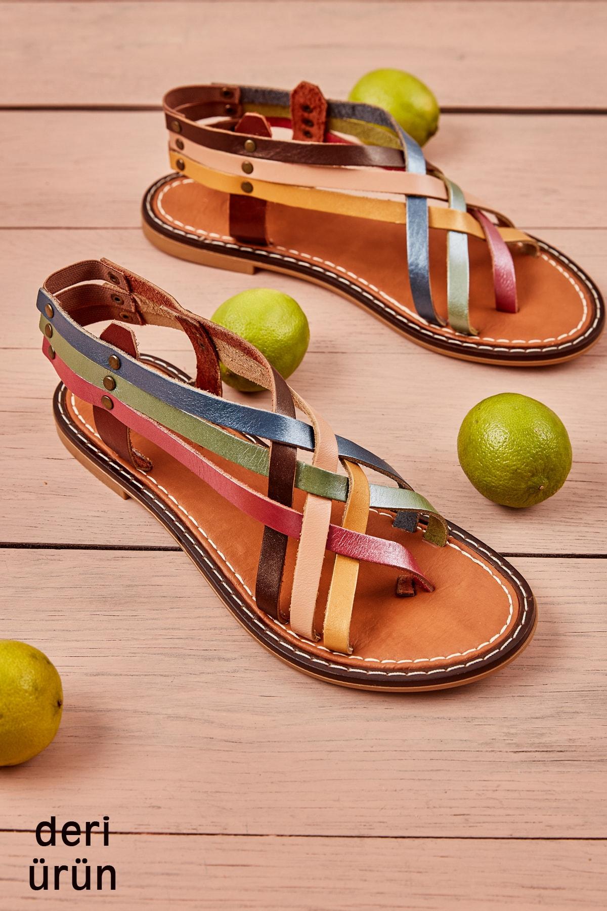 Bambi Hakiki Deri Multi Renkli Kadın Sandalet L0602808003 1