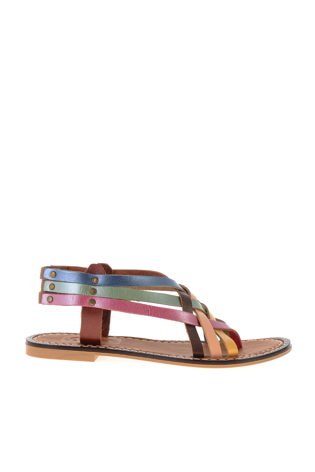Bambi Hakiki Deri Multi Renkli Kadın Sandalet L0602808003 2