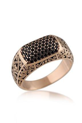 Valori Jewels Siyah Zirkon Taşlı, Kırmızı Altın Kaplama, Gümüş Erkek Yüzüğü