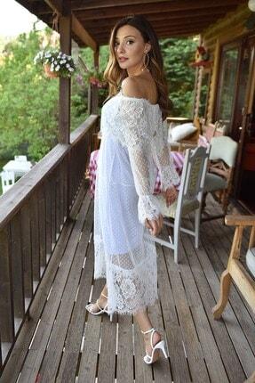 Modakapimda Beyaz Güpür Kayık Yaka Nikah Elbisesi