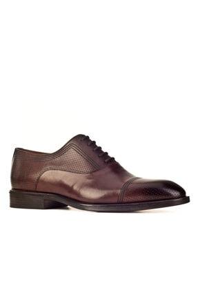 Cabani Oxford Kaymaz Esnek Kauçuk Tabanlı Bağcıklı Günlük Erkek Ayakkabı Kahve Antik Deri