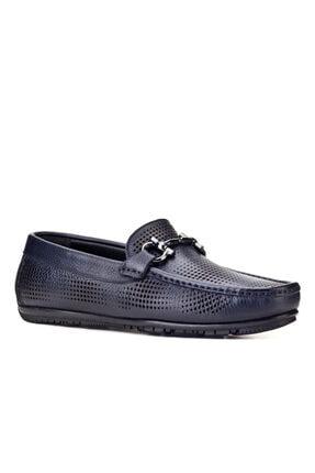 Cabani Lazer Detaylı Tokalı Loafer Erkek Ayakkabı Lacivert Floter Deri