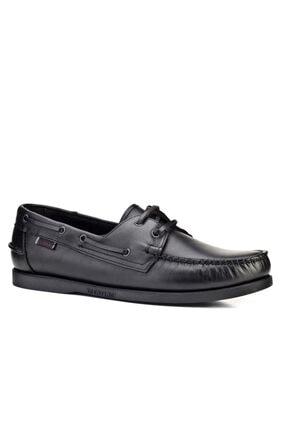 Cabani Marin Tekne (Boat Shoes) Kadın Ayakkabı Siyah Analin Deri