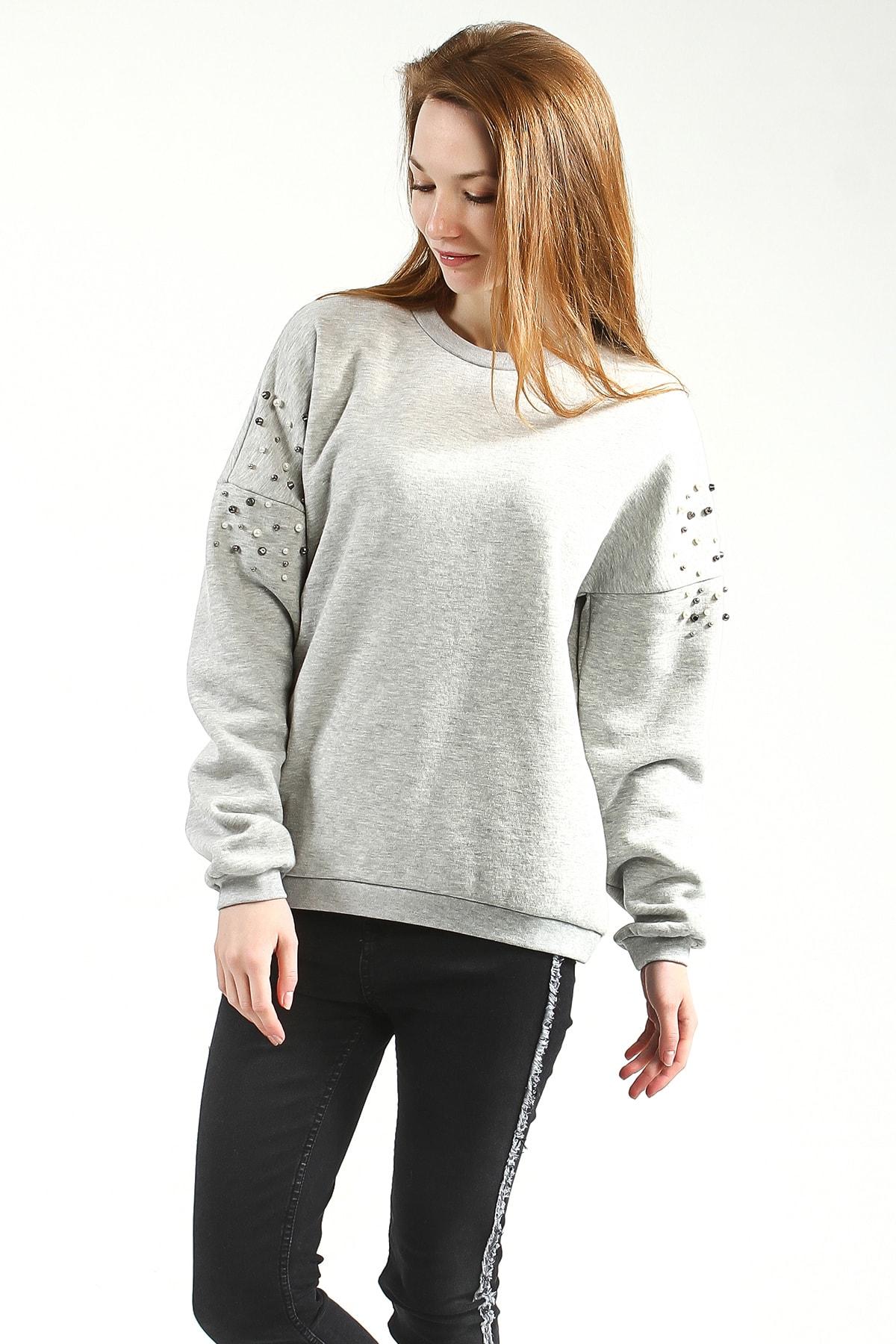Collezione Grimelanj Bisiklet Yaka Trok Detaylı Uzun Kollu Sweatshirt 1