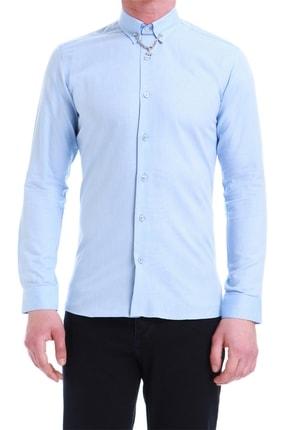 Efor Gk 539 Slim Fit Mavi Klasik Gömlek