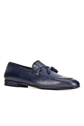 Cabani Geyik Derisi Fiyonk Detaylı Işlemeli Loafer - Erkek Ayakkabı Lacivert