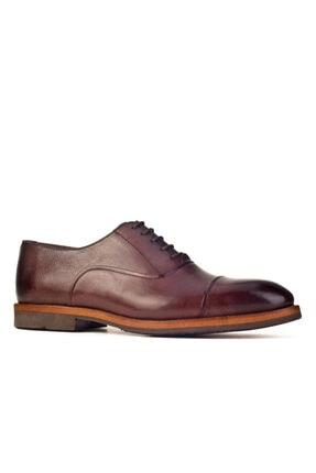 Cabani Lazer Detaylı Oxford Hafif Light Tabanlı Bağcıklı - Erkek Ayakkabı Kahve Antik Deri