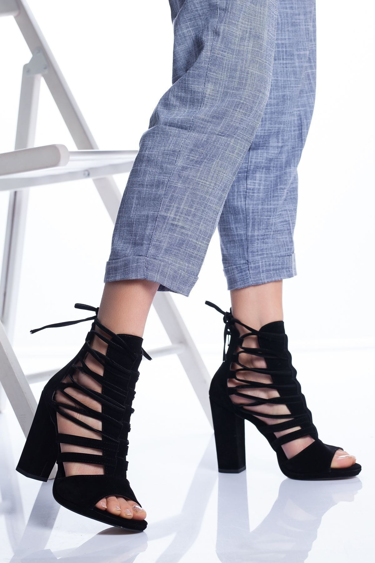 Ayakkabı Frekansı Petra Topuklu Ayakkabı Siyah Süet 2