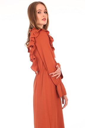 Bigdart 10288 Önü Fırfırlı Tesettür Elbise
