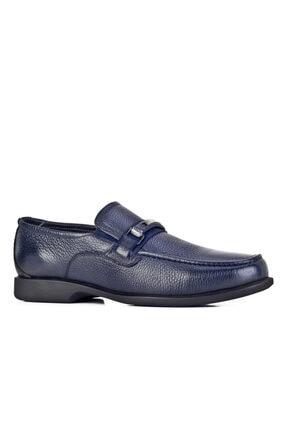 Cabani Toka Aksesuarlı Bağcıksız Loafer Erkek Ayakkabı Lacivert Floter Deri