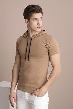 TENA MODA Erkek Bisküvi Kapüşonlu Düz Tişört