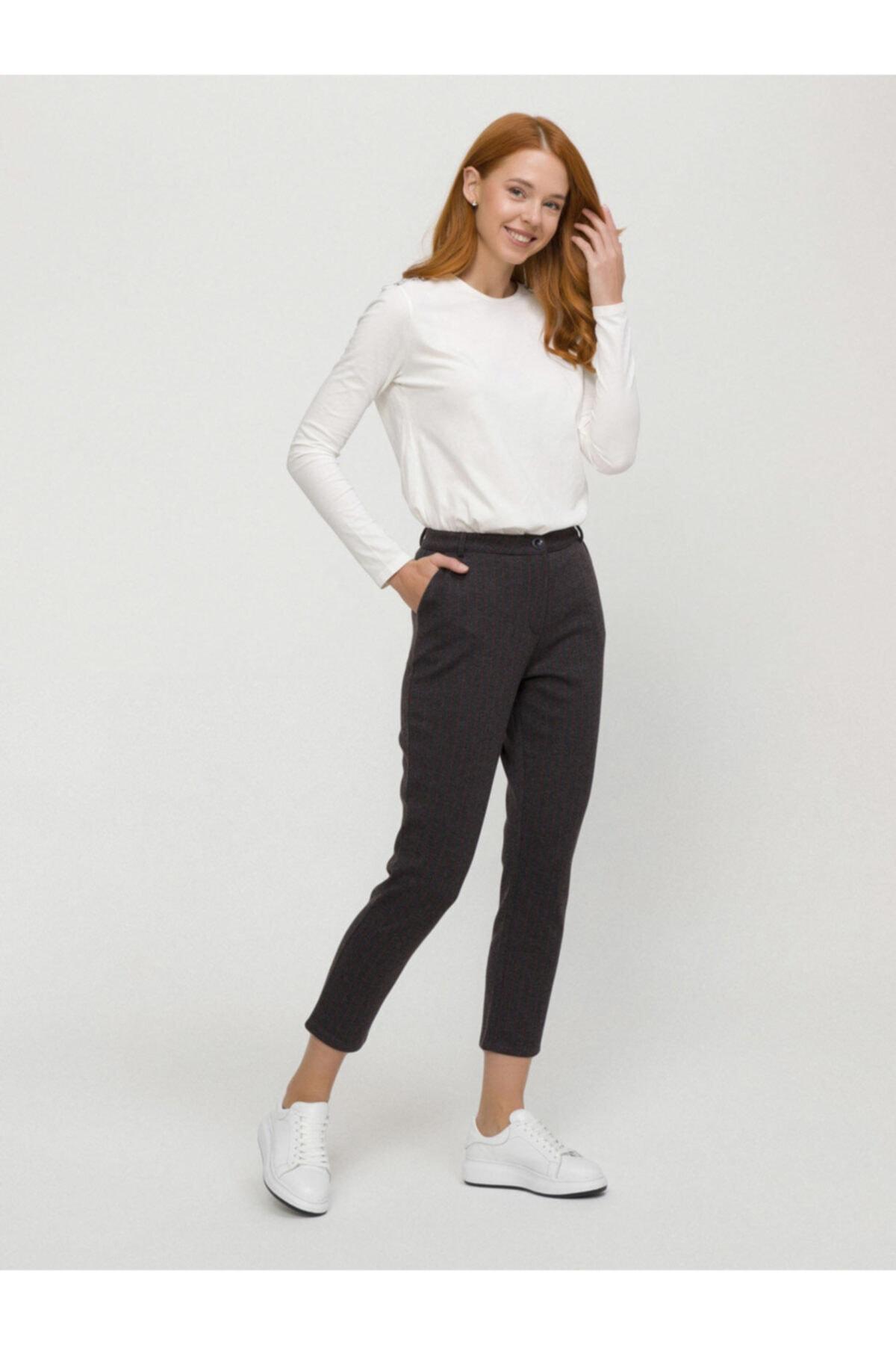 Xint Xınt Normal Bel Rahat Kesim Çizgili Pantolon 2
