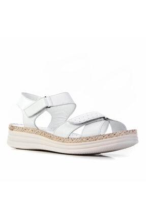 Cabani 4 Cm Topuklu Çırt Bantlı Günlük Kadın Sandalet Beyaz Deri