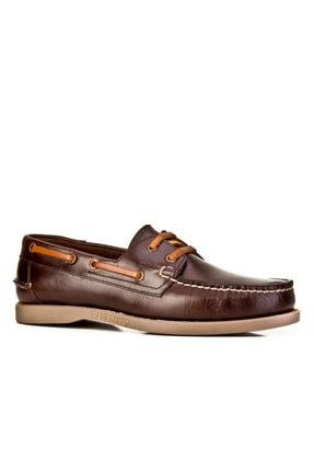 Cabani Marin Tekne (Boat Shoes) - Kadın Ayakkabı Kahve Flap Deri