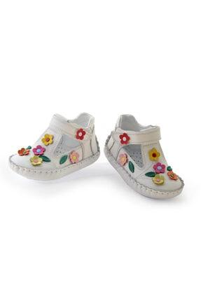 KAPTAN JUNIOR Ilkadım Hakiki Deri Kız Bebek Çocuk Ortopedik Ayakkabı Patik Itdk 205 Beyaz