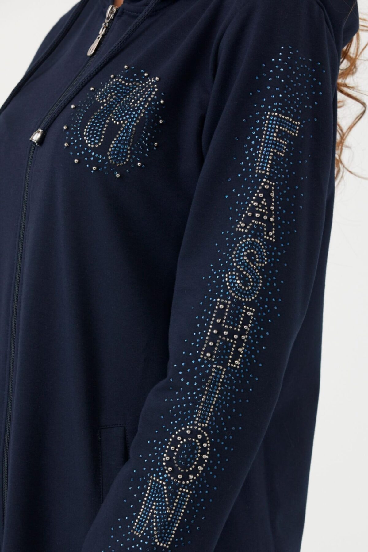 Sementa Kapüşonlu Taş Detayl Fermuarlıı Kadın Tunik - Lacivert 2