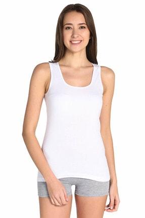 Tutku Kadın Beyaz Askılı Ribana Atlet 0136
