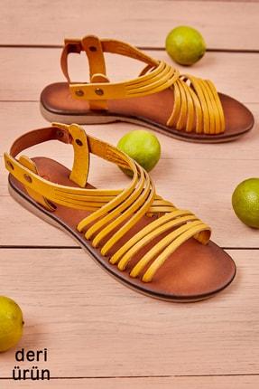 Bambi Hakiki Deri Sarı Kadın Sandalet K05685222203