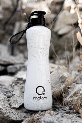 Qmatara Marble Beyaz Cam Matara 750 Cc