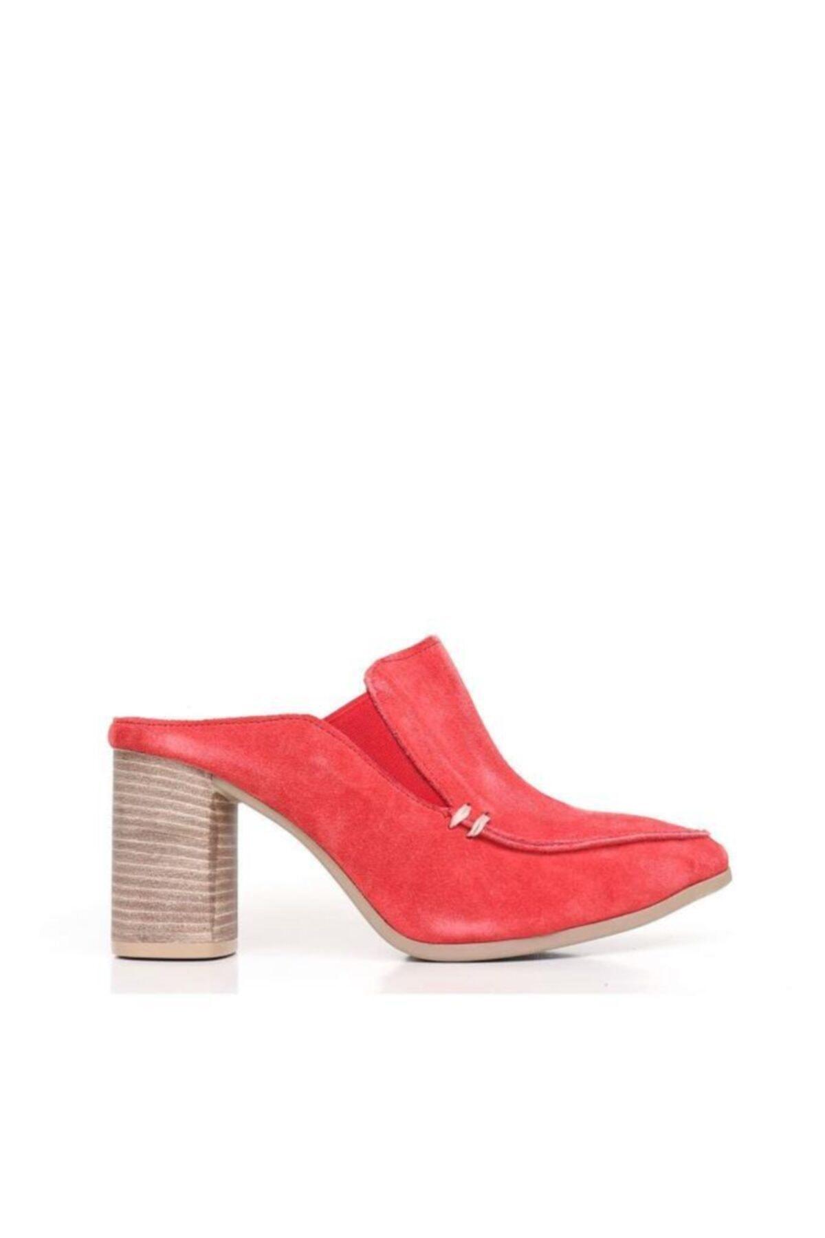 BUENO Shoes Lastik Detay Hakiki Deri Topuklu Kadın Terlik 9n6702 1