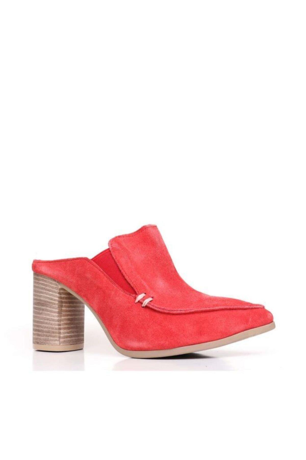 BUENO Shoes Lastik Detay Hakiki Deri Topuklu Kadın Terlik 9n6702 2