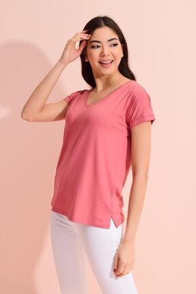 TENA MODA Kadın Gül V Yaka Geniş Salaş Tişört