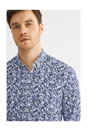 Avva Erkek Lacivert Baskılı Düğmeli Yaka Slim Fit Gömlek A01y2129
