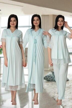 Effort Pijama Effortt 5046 Turkuaz Güpür Sabahlıklı Lohusa Hamile 4'lü Set