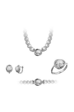 Chavin Inci Gümüş Kolye Küpe Bileklik Yüzük Takım Set Ee05