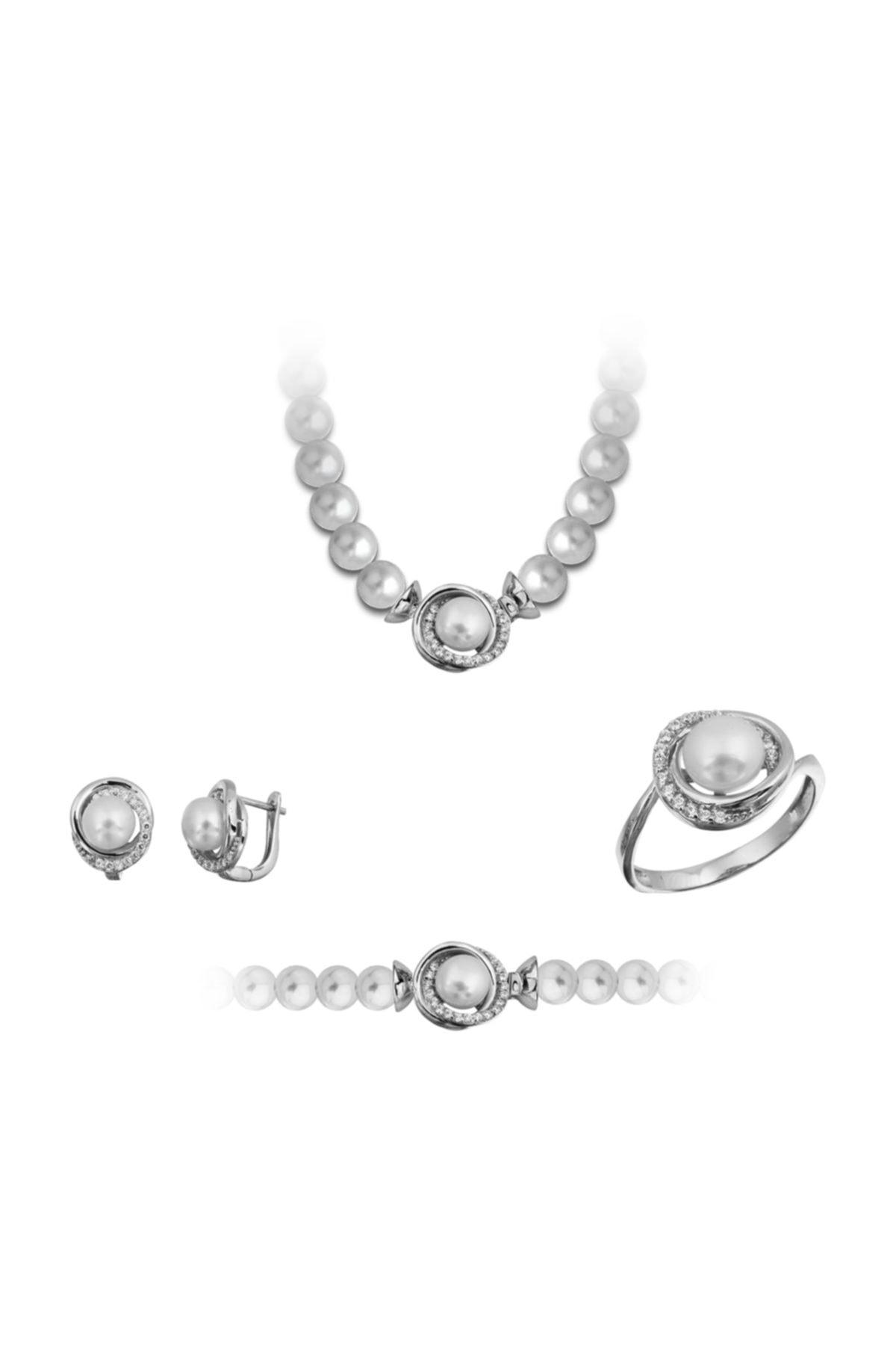 Chavin Inci Gümüş Kolye Küpe Bileklik Yüzük Takım Set Ee05 1