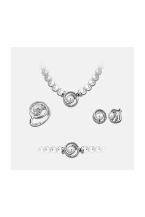Chavin Inci Gümüş Kolye Küpe Bileklik Yüzük Takım Set Ee01