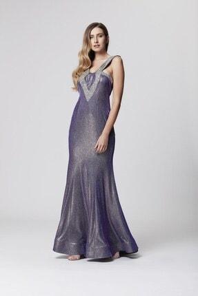 Abiye Sarayı Mor Askı Ve Sırt Detaylı Simli Uzun Balık Abiye Elbise